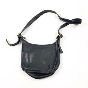 Vintage Black Leather Medium Sized Crossbody D